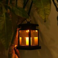 Outdoor Solar Powered Lantern Hanging Light LED Yard Patio Garden Lamp Lights