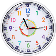 Wall Clock for Kids with Silent Non Ticking Sweep Quartz Mechanism Easy to Read