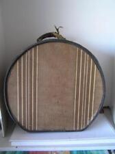 Antique Hat Train Luggage Round Tweed pattern Box with Handle Storage Display