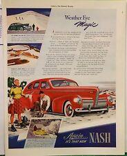 1939 magazine ad for Nash - Weather Eye Magic car heater,  Winter scenes of Nash