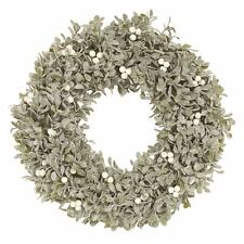 Green Frosted Mistletoe Leaf and Berry Round Christmas Wreath