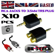 10X PHONO (RCA) JACKS -TO- 3.5 mm TRS PLUG / STEREO / AUDIO ADAPTER  (10 pieces)