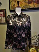 Identity Lord & Taylor Black Floral Print Long Sleeve Shirt 8 Silk Blouse Top