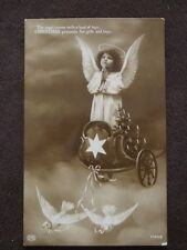 Angel Delivering Presents In Chariot Pulled By Doves - Vtg Christmas Postcard