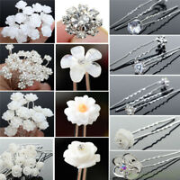 20/40Pcs Lot Wedding Bridal Pearl Rose Flower Hair Pins Crystal Rhinestone Clips