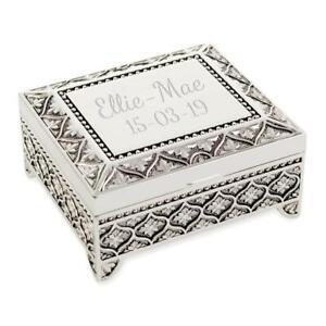 Personalised Art Deco Style Trinket/Jewellery Box Floral Pattern - Engraved