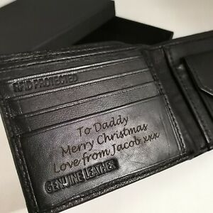 BLACK Personalised Wallet + GIFT BOX Engraved Genuine Leather