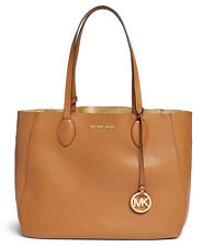 NWT Authentic Michael Kors Mae Large EW Leather Reversible Tote Bag ~Acorn/Gold
