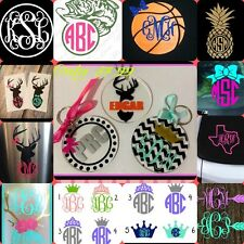Keychain Monogram  Initials Name Customize