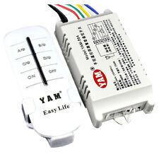 YAM Wireless 4 Kanaele ON/ OFF 220V Lampe Fernbedienung Schalter Empfaenger X0A2