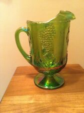 Vintage Depression Indiana green carnival glass heavy large pitcher