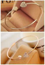 Women Hot Rhinestone Love Heart Rose Gold & Silver Bangle Cuff Bracelet Jewelry