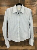 346 Brooks Brothers Women's Blue Stripe Long Sleeve French Cuff Button Up Shirt