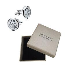 Mens Eye Test Optician Joke Cufflinks & Gift Box By Onyx Art - Opticians