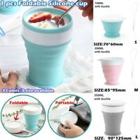 Silicone Telescopic Folding Collapsible Sports Travel Portable Cup With Buckle