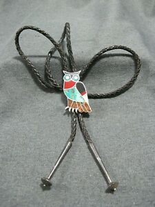 Vintage Native American inlaid stones sterling Owl Bolo Tie signed G E Chapman?