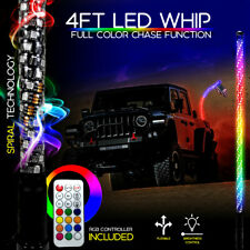 4 Feet Led Rgb Color Whip Lights with Remote Control For Atv Utv Rzr 4Wd 4Ft