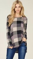 NWT Women's Large Plaid Check Long Sleeve Top Blouse Holiday Boutique USA
