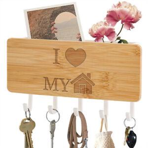 Wood Key Holder Mail Rack Wall Hooks Entryway Organizer Rack DIY Letter Sorter