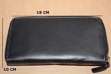 Girls Women Ladies Purse Black Genuine Leather Wallet Purse with Pockets
