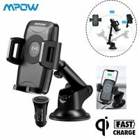 Mpow QI Wireless Car Phone Charger Mount Holder For iPhone 8 Plus X Samsung S9