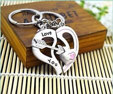 Cute Arrow & Love You Heart & Key Couple Chain Ring Keyring Keyfob Lover Gift