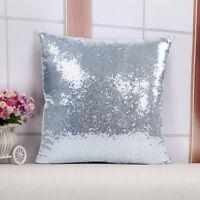 Magic Mermaid Pillow Case Reversible Sequin Glitter Sofa Cushion Cover Touch^