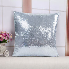 2017Glitter Silber Farbe Kissen Sequin Cover Sofa Taille Throw Kissen Case Decal