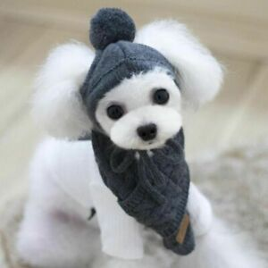 Dog Hat Scarf Warm Knitted Plush Collar Clothes Pet Puppy Santa Christmas Winter
