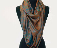 "Large Orange 100% Silk Shawl Light Pashmina Scarf Paisely 44""x68"" Versatile"