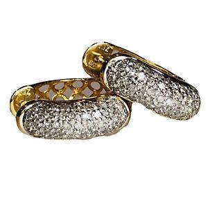Diamond Front Lattice Back 14K White Yellow Gold Vintage Hinged Hoop Earrings