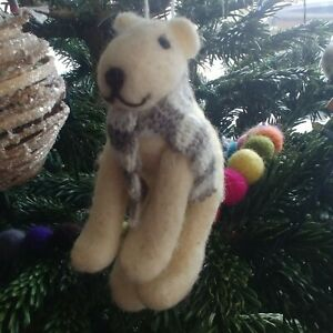 POLAR BEAR pure wool CHRISTMAS TREE DECORATION knitted scarf NEW from CoCo&Ned