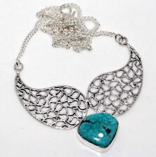 "Turquoise 925 Sterling Silver Plated Necklace 20"" Christmas Jewelry GW"