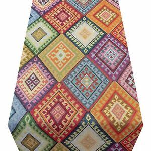 Multicoloured Turkish Kilim Table Runner. Geometric Tapestry Decoration. 2 Sizes