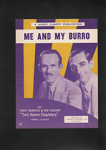 Me and My Burro 1934 The Happy Chappies Sheet Music