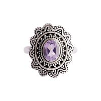 Handmade 925 Solid Sterling Silver Jewelry Amethyst Gemstone Ring Size 7.5