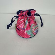 Lilly Pulitzer Womens Drawstring Bag Makeup Pouch Travel Blue