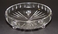 Vintage Clear Cut Glass Nut Dish - 3 Footed - Ray Pattern