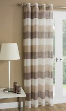 Ready Made Striped Eyelet Ring Top Voile Curtains / Door Panels / Room Dividers