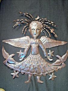 Mexico Metal Folk Art - Hammered Metal Angel Wall Sculpture - Light Steel 22x24