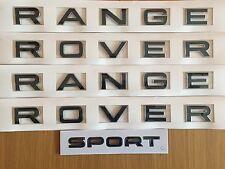 BLACK CHROME EDGE Range Rover Lettering SPORT BADGE Set Per Cofano Portellone Posteriore