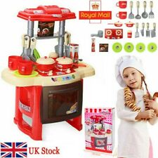 Kids Play Kitchen & Pretend Food Role Set Oven Lights Sound & Accessories Toy UK