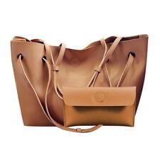 Women 2pcs/set PU Leather Tote Shoulder Handbag Purse Shopper Clutch Bag Satchel