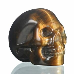 "1.57""Natural Yellow Tiger Eye Carved Skull Metaphysic Healing Power #33Q40"