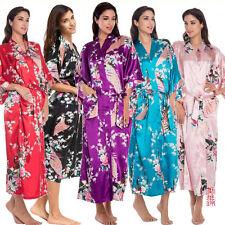 NEW Ladies Satin Long Kimono Gown Bathrobe Dressing Babydoll Nightwear Sleepwear