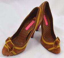 Betsey Johnson suede Vero pumps heels sexy multi color distressed Shoes SZ 7.5 M