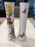 2 O&EG Royal Austria Iris Butterflies Vases ARTIST SIGNED Doris Malstaff