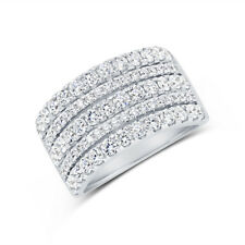 Cut 5 Row Band Cocktail Right Hand 14K White Gold Wide Diamond Ring Womens Round
