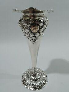 Shiebler Medallion Vase - 264X - Antique - American Sterling Silver 14k Gold