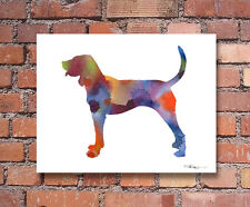 Bluetick Coonhound Abstract Watercolor Painting Art Print by Artist Dj Rogers